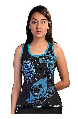 Tattopani Women Summer Sleeveless Tank Tops With Peacock Feather Embroidery