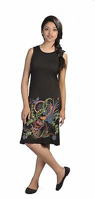 Tattopani Women Summer Sleeveless Dress With Floral & Bird Embroidery
