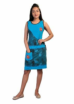 Tattopani Women Summer Sleeveless Dress With Flower Patches & Embroidery