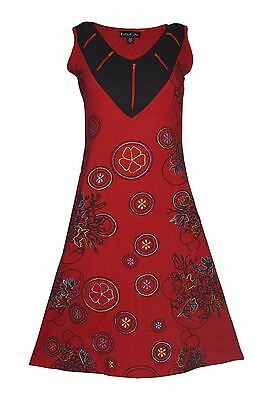Tattopani Women's Sleeveless Dress With Floral Prints And Embroidery Work