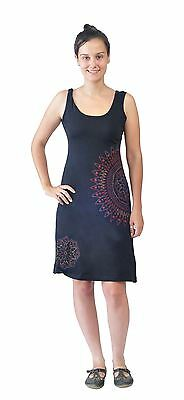 Tattopani Women's Sleeveless Dress With Side Flower Embroidery And Print Design
