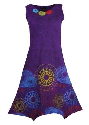 Tattopani Women's Sleeveless Pixie Style Dress With Colorful Prints