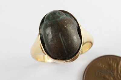 ANTIQUE ENGLISH 18K GOLD RING w/ ANCIENT EGYPTIAN FAIENCE SCARAB c1919