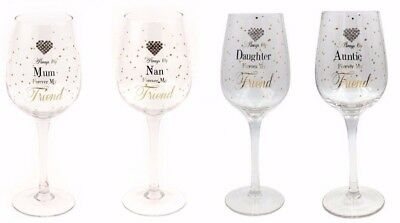 Mum Nan Auntie Daughter Wine Glass Gift - Diamante Heart, Forever my Friend
