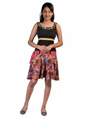 Tattopani Ladies Summer Sleeveless Dress with Colorful Flower Pattern Print