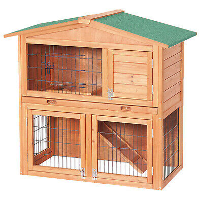 2-Story Luxury Rabbit Hutch Wood Pet House Guinea Pig, Hamster