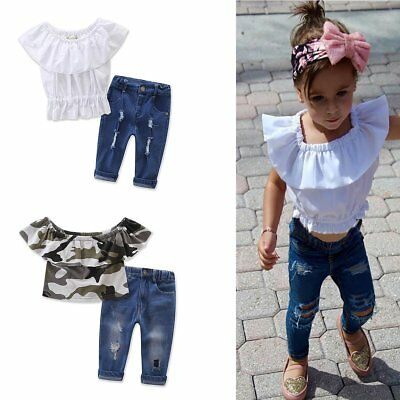 2PCS Toddler Kids Baby Girls Summer T-shirt Tops+Hole Pants Clothes Outfits Sets