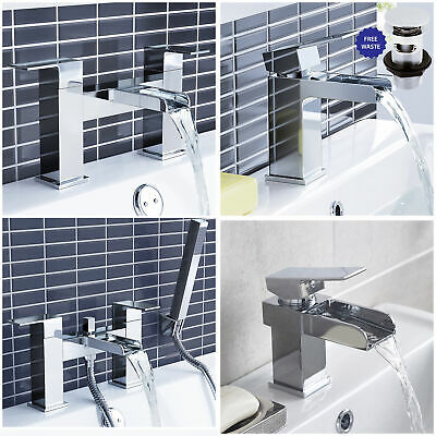 Ultra Waterfall Chrome Bathroom Brass Bath Filler & Shower Mixer Basin Taps