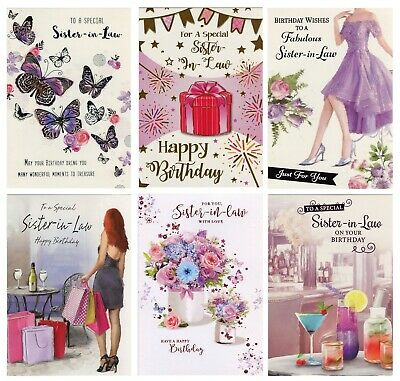 Traditional Cute Sister In Law Birthday Card Various Designs 1St Pp