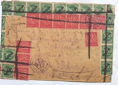 Germany 1923 Inflation Period Cover With 75 X Official Stamps Cassel
