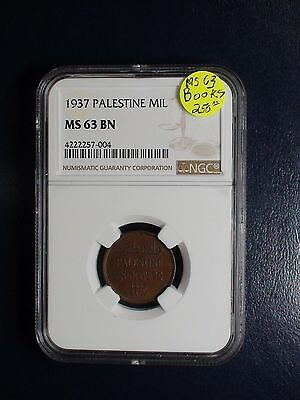 1937 Palestine Mil NGC MS63 BN KEY DATE 1M COIN PRICED TO SELL NOW!