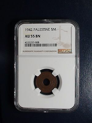 1942 Palestine Five Mils NGC AU55 BN 5M COIN PRICED TO SELL NOW!