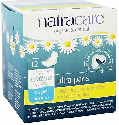 Natracare Organic Cotton Natural Ultra Pads Super with Wings 12 ea (Pack of 8)