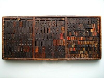 340 WOODEN LETTERPRESS PRINTING BLOCKS Miller&Richard Type Case COLLECTION ONLY