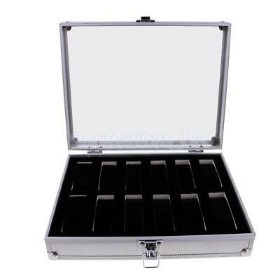 12 Slots Aluminium Watch Storage Case Organiser Display Box Clear Glass Top
