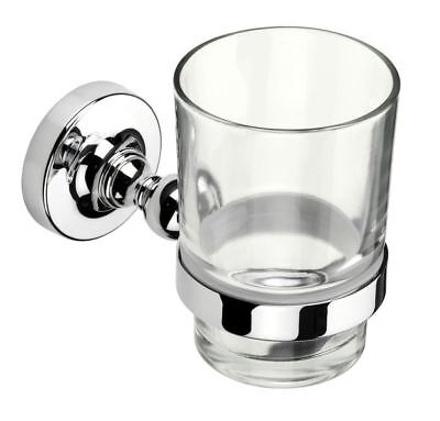 Croydex Worcester Flexi-Fix Tumbler Cup Glass Chrome Holders Bathroom Set