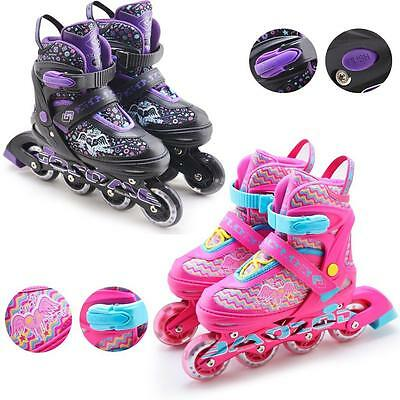 Childrens Kids Boys Girls 4 Wheel Adjustable Inline Skates Roller Blades Boots