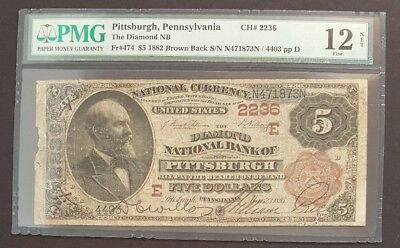 (Scarce & Rare) 1882 $5 Brown Back, The Diamond National Bank Of Pittsburgh 2236