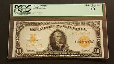(BEAUTIFUL) FR.#1173 1922 $10 Gold Certificate Note, Ten Dollar PCGS 55 w Repair