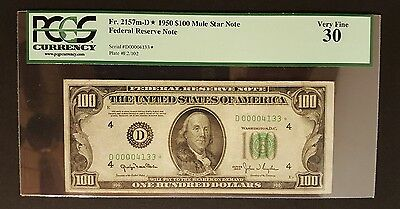 (SCARCE LOW SERIAL STAR) 1950 $100 Mule Note, Rare Cleveland PCGS 30 Fr. 2157m-D