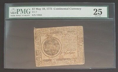CC-7 May 10, 1775 $7 Continental Currency Note, PMG 25 Very Fine