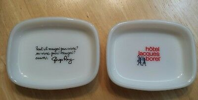 Pair of Vintage French Hotel Jacques Borel Milk Glass Ashtrays Or Soap Dishes