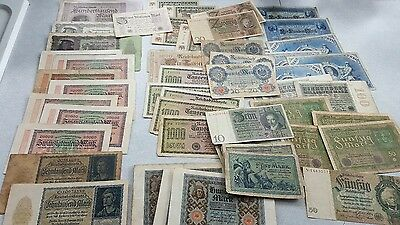 Large Quantity German Hyper Inflation Reichsmark Banknotes 5 to 100 Million Mark