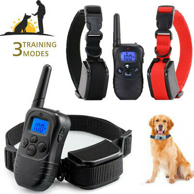 Waterproof 1000 Yard 2 Dog Shock Training Collar Pet Trainer with Remote 4 Modes