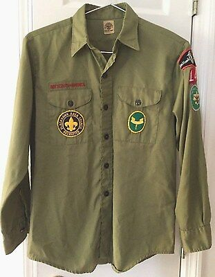 VTG BSA Boy Scouts Long Sleeve Uniform Shirt & Patches ~ Youth Large/Adult Small