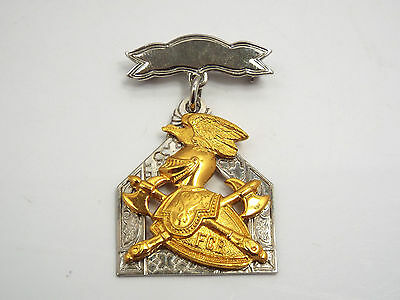 Vtg Knights of Pythias FCB Lodge Sterling Silver Gold Vermeil Dangle Pin Medal
