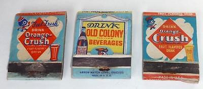 Three , Old Orange Crush Match Covers, All Different, with Crushie, Dispenser