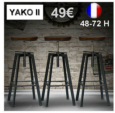 Lot de Tabourets de Bar Réglable YAKO 2 Design Luxe Loft Vintage Industriel