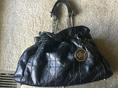 60dfa5f6ed6b CHRISTIAN DIOR BLACK Lambskin Leather Cannage Granville Tote Bag ...