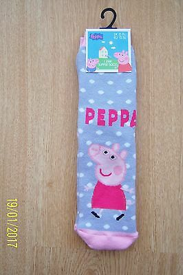 Girls Peppa Pig Slipper Socks Sz 12 - 3.5 Grey Pink + White Spots Non Slip Bnwt