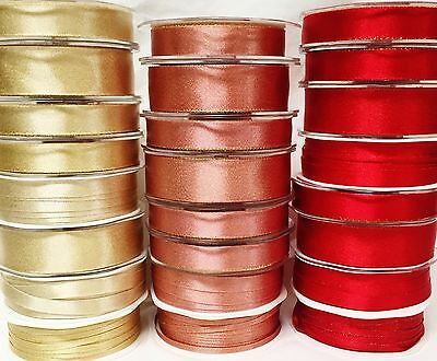funkkelig Seide rot hell gold Weihnachten Band Gift Wrapping - 1, 3 or 5 Meter
