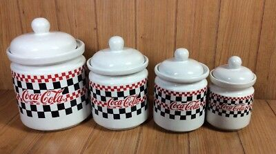 CANISTER SET OF 4- COCA-COLA CHECKERED RED/BLACK Coke Merchandise