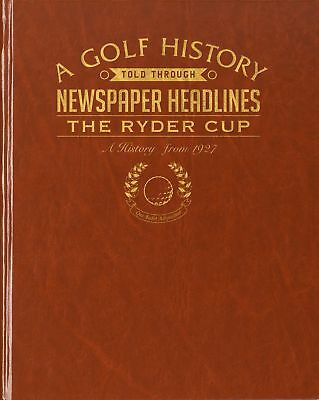Personalised Ryder Cup Golf Newspaper Book - Brown Leatherette - Xmas Gift