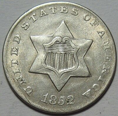= 1852 AU THREE Cent SILVER Piece, Nice Details & LUSTER, FREE Shipping