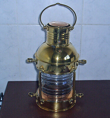 All Brass Candle Light Hurricane Lamp Lantern Working Condition Wall Or Table