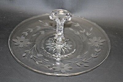 """Vintage Tidbit Tray Etched Clear Glass Floral Pattern Center Handle Serving 8"""""""