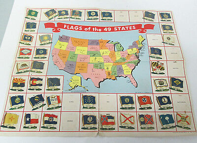 Vtg National Biscuit Company Tin Flags of the 49 States Paper Map 1950's Nabisco