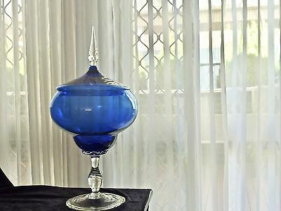 Monumental Mid Century Cobalt Blue Hand Blown Empoli Apothecary Centerpiece Ital