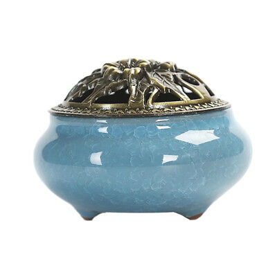 Ceramic Incense Burner Holder Censer Ash Catcher Tray Bowl Home Decor Blue