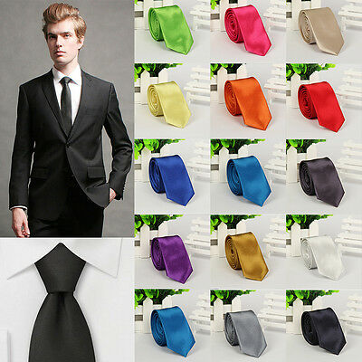 Classic Unisex Ladies Mens Tie Necktie Plain Satin Slim Skinny Wedding Solid TOP