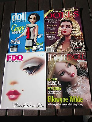 4 Doll Magazines,2 Doll Reader,dolls And (Fdq) Fashion Doll Quarterly Magazines