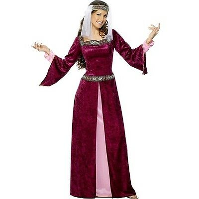 Cl417 Maid Marion Adult Costume Medieval Fancy Dress Renaissance