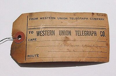 RARE Vintage WESTERN UNION TELEGRAPH CO form 48 tag