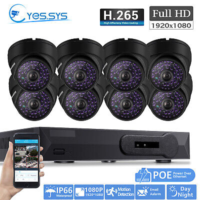 2MP 1080P HD 8pcs 48LEDs CCTV IP DOME Camera 8CH P&P POE NVR SYSTEM AU SHIPPING
