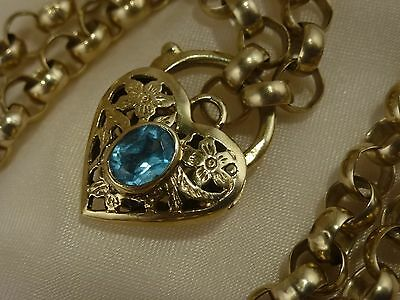9k 9ct Solid Gold Belcher Chain and Aquamarine Heart Necklace. 6.7mm 55cm 41.46g