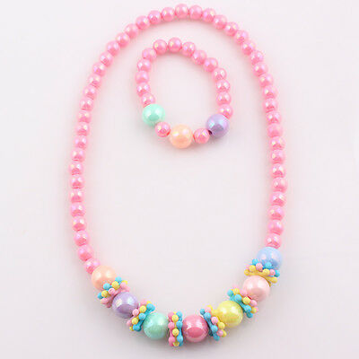 Latest Cute Baby Toddler Girls' Necklace and Bracelet Bead Set for Occasions